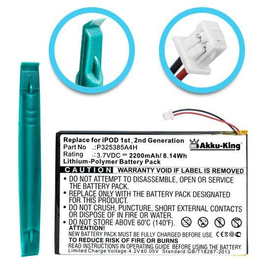 Akku-King Akku für IPOD 1G, 2G 1. und 2. Generation - inkl. Einbau-Werkzeug - Li-Polymer 2200mAh