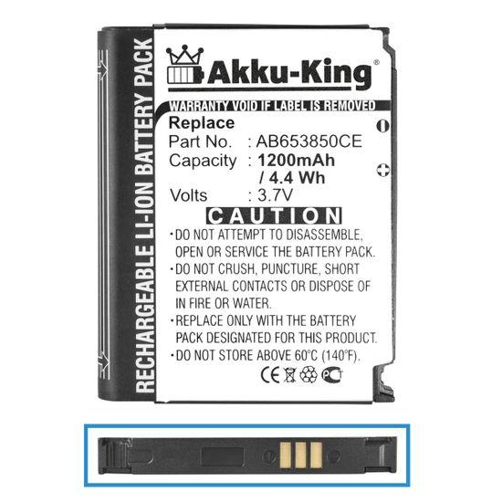 Akku kompatibel mit Samsung AB653850CE, AB653850CC, AB653850CU - Li-Ion 1200mAh - für SGH-i900 i9020, i9023 Nexus S i7500 Galaxy