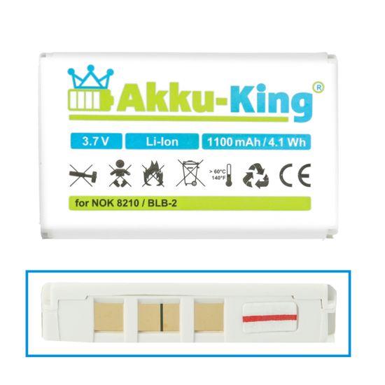 Akku-King Akku kompatibel mit Nokia BLB-2 - Li-Ion 1100mAh - für 8210, 3610, 5210, 6510, 7650, 8250, 8310, 8850, 8890, 8910, Fortuna Clip-On