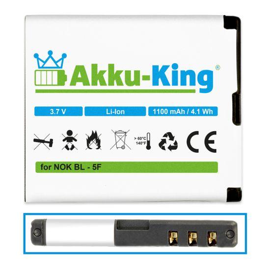 Akku-King Akku kompatibel mit Nokia BL-5F - für N95 N95 N96 N93i E62 E65 6290, 6210 Navigator X501