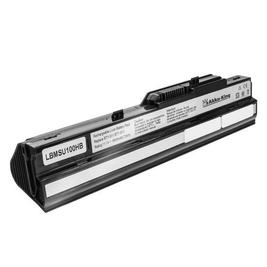 Akku kompatibel mit MSI Wind U90, U100 - Li-Ion (9 Zellen) 6600mAh 11.1V - schwarz