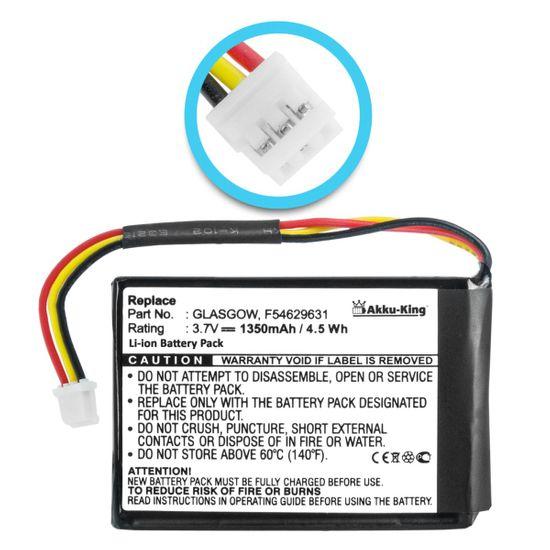 Akku-King Akku kompatibel mit TomTom F54629661, F54629631, F55171036 - Li-Ion 1350mAh - für One V1 4N00.001, 4N00.003, MAXELL ICP803443