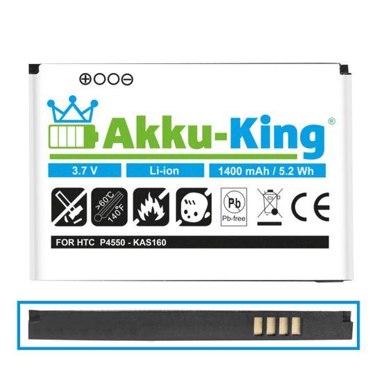 Akku kompatibel mit HTC BA S210 KAS160 35H00088-00M - Li-Ion 1400mAh - für P4550 Kaiser, TyTN2, MDA Vario 3, VPA Compact 5, O2 XDA Stellar