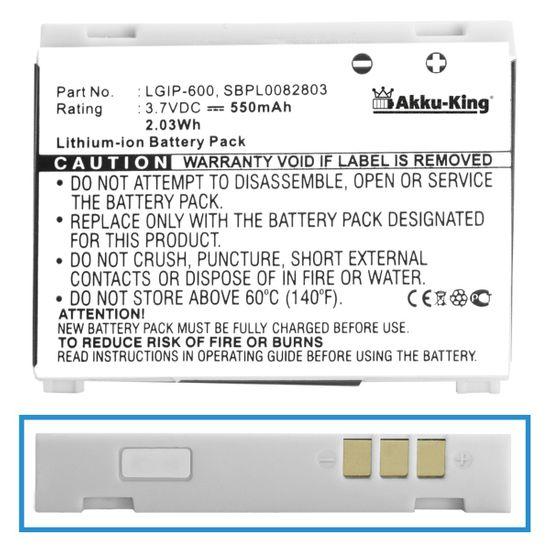 Akku kompatibel mit LG KG320s - ersetzt LGIP-600 - Li-Ion 550mAh