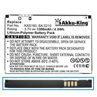 Akku kompatibel mit HTC TyTN II, P4550, Kaiser, Vodafone V1615, T-Mobile MDA Vario 3, O2 XDA STELLAR - ersetzt BA S210, KAS160, 35H00088-00M - Li-Polymer 1300mAh