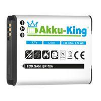 Akku kompatibel mit Samsung EA-BP70A, BP-70A, SLB-70A - Li-Ion 740mAh - für SL50, PL171, TL105, TL110, ES71, WP10, DV100