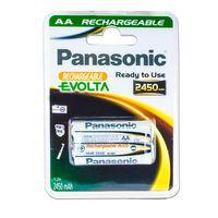 Panasonic Akku Mignon AA Ni-MH Rechargeable Evolta - 1,2V 2450mAh - 2er Pack - HHR-3XXE - Neueste Generation