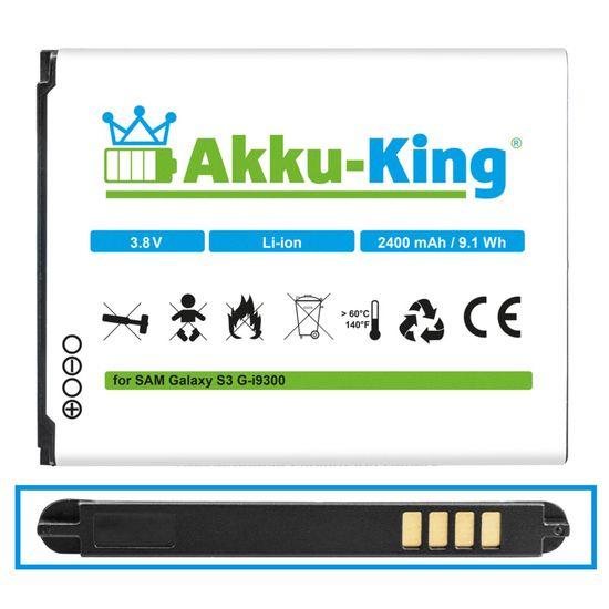 Akku-King Akku ersetzt Samsung EB-L1G6LLUCSTD - Li-Ion 2400mAh - für Galaxy S3, S3 Neo, GT-I9300, GT-i9305 LTE, GT-i9301