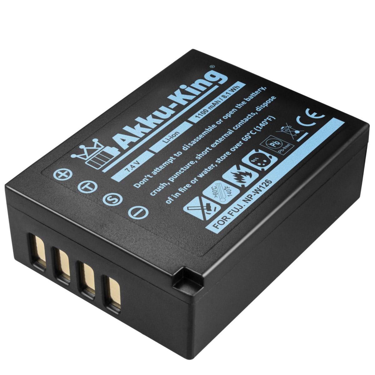 Akku King Ersetzt Fuji Np W126 W126s Li Ion 1100mah Fr Battery X A1 A2 A3 E1 E2 E2s M1 Pro1 Pro2 T1 T2