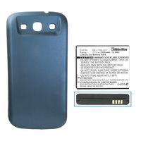 Power-Akku kompatibel mit Samsung Galaxy S3, S III, GT-i9300, S3 LTE GT-i9305 - ersetzt EB-K1G6UBUGSTD - Li-Ion 3300mAh - Akkudeckel blau