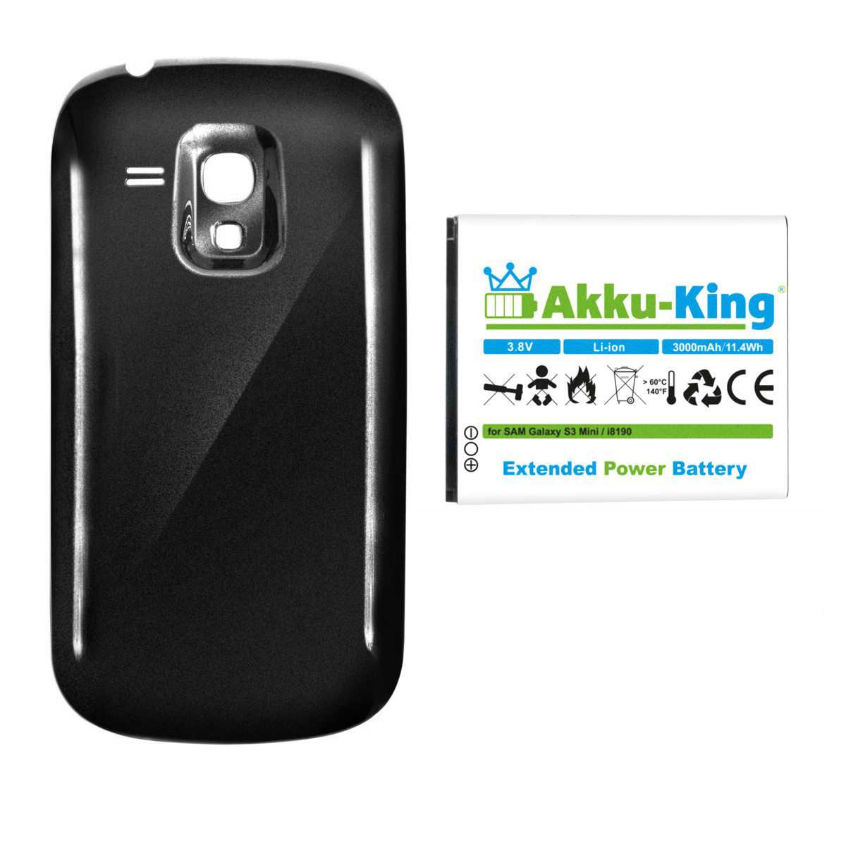 akku king 3000mah power akku f r samsung galaxy s3 mini gt. Black Bedroom Furniture Sets. Home Design Ideas