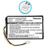 Akku kompatibel mit Logitech 533-000084, 1209 - Li-Ion 1050mAh - für Harmony Touch, Harmony Ultimate Fernbedienung
