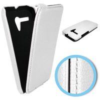 Edle Tasche (Kunstleder) Flip Case für Motorola Moto G DVX XT1032 - weiß