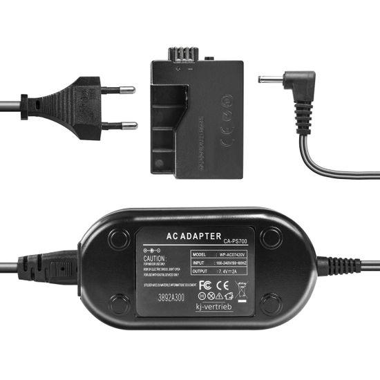 Netzteil mit Akkuadapter für Canon EOS 450D, EOS 500D, EOS 1000D - ersetzt ACK-E5, DR-E5, CA-PS700