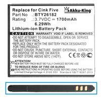 Akku-King Akku ersetzt Wiko BTY26182 BTY26182 Mobistel/STD - 1700mAh - für Cink Five, Micromax A116, Mobistel Cynus T5 - Li-Ion