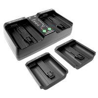 Duo Akku - Ladegerät kompatibel mit Akku Nikon EN-EL18, EN-EL18a, EN-EL18b, EN-EL4, EN-EL4A, Canon LP-E4, LP-E19, BA-T10, BA-T20 - ersetzt MH-26