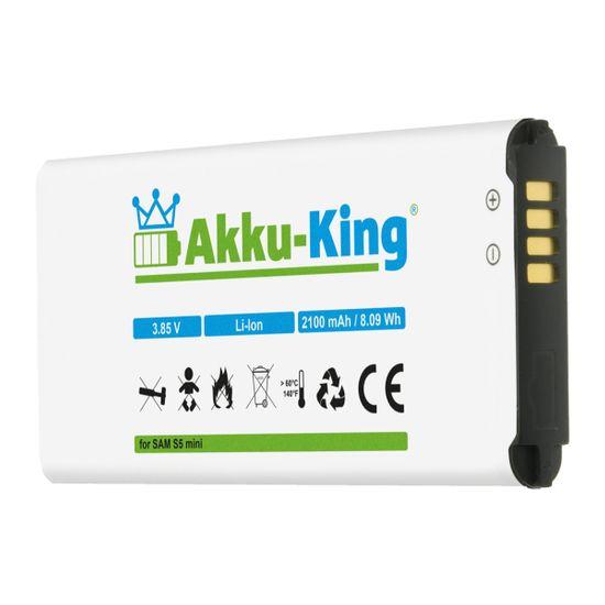 Akku-King Akku ersetzt Samsung EG-BG800BBE - Li-Ion 2100mAh - für Galaxy S5 Mini, DuoS SM-G800F, S5 Dx SM-G800H, SM-G800Y