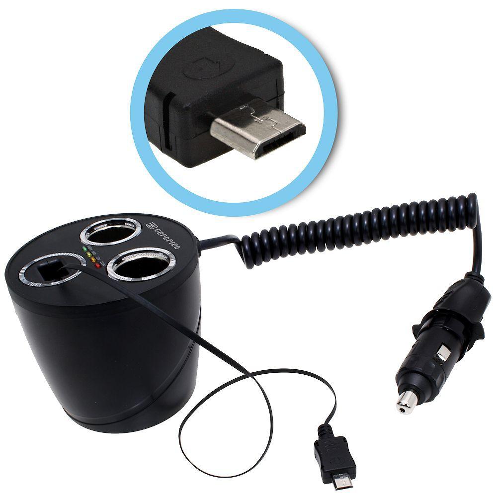 KFZ-Ladegerät, Adapter Socket mit 2 12-Volt-Buchsen und Micro-USB ...