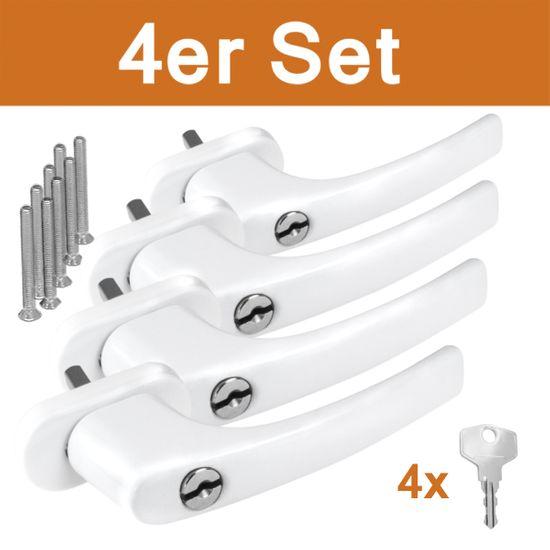4 x Alu Fenstergriffe in Weiß abschließbar - Stiftlänge 30mm