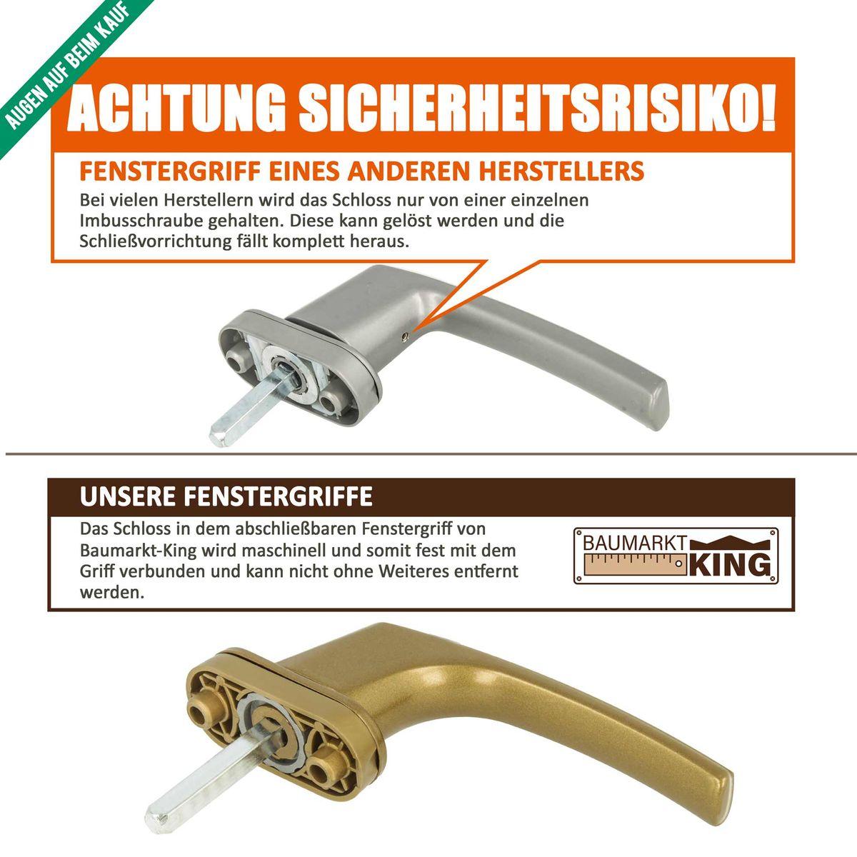 Stiftl/änge 35mm 8 x Alu Fenstergriff in Silber F1 abschlie/ßbar