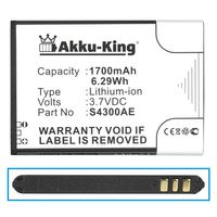 Akku-King Akku kompatibel mit Wiko S4300AE - Li-Ion 1700mAh - für Jimmy