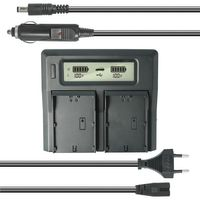 Dual Akku-Ladegerät kompatibel mit Panasonic DMW-BLE9, DMW-BLG10, DMW-BLH7 - mit USB-Anschluss, LCD-Display und Kfz-Ladekabel - Schnellladegerät