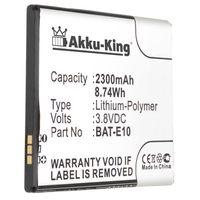 Akku-King Akku kompatibel mit Acer BAT-E10, BAT-E10(1ICP4/58/71), KT.0010K.009 - Li-Polymer 2300mAh - für Liquid Z530, Z530S, T02