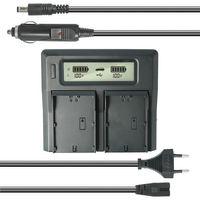 Dual Akku-Ladegerät kompatibel mit Canon BP-915, BP-930, BP-945 - mit USB-Anschluss, LCD-Display und Kfz-Ladekabel - Schnellladegerät