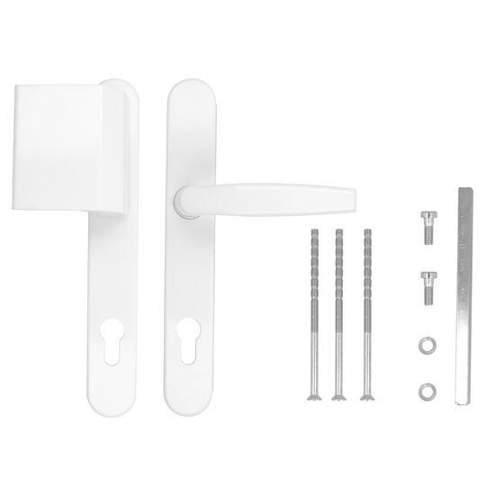 Türgriff / Türdrücker / Türklinke / Drückergarnitur DHS 92mm (Schildbreite 32mm) Oval - Weiß  RAL 9016 - Stossgriff