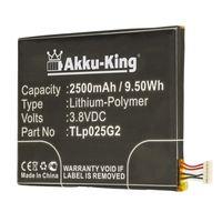 """Akku-King Akku kompatibel mit Alcatel CAC2580010C2, TLp025G2 - Li-Polymer 2500mAh - für Alcatel One Touch Pixi 3 8"""" 3G, One Touch Pixi 4 6.0, One Touch Pixi 4 6.0 LTE, OT- 9001AOT- 9001X, OT-8050D"""