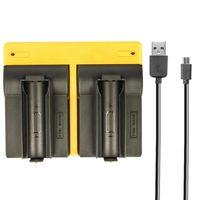 Dual USB Ladegerät kompatibel mit 2x 18650 Zellen (nur für PCB geschützte Akkus) - inkl. Micro-USB Kabel