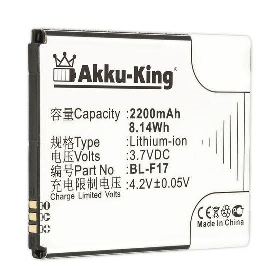 Akku-King Akku ersetzt Phicomm BL-F17 - Li-Ion 2200mAh - für Phicomm 2S, X130, X130V, X130va, X130W, X130wa