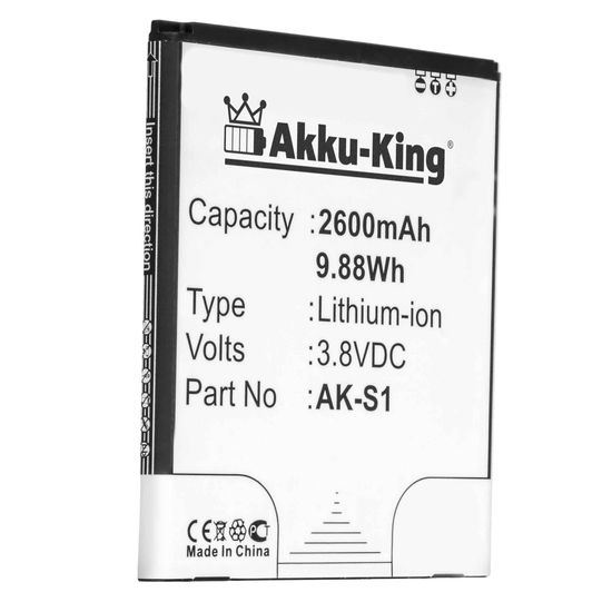 Akku-King Akku ersetzt Emporia AK-S1, AK-S1(V1.0) - Li-Ion 2600mAh - für Emporia Smart, Smart 1