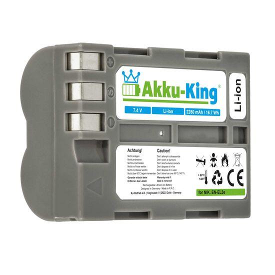 Akku kompatibel mit Nikon EN-EL3e, EN-EL3e-2 - Li-Ion 2250mAh - für D100 SLR, DSLR D700, D50, D100, D90, D80, D300, D70, D70s, D200, D300S