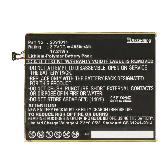 Akku kompatibel mit Amazon 58-000181 - Li-Ion 4650mAh - für Amazon Kindle Fire HD 8 7th Generation
