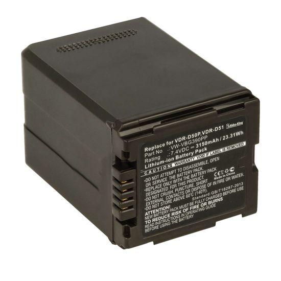 Akku kompatibel mit Panasonic VW-VBG390, VW-VBG390E, VW-VBG390K - Li-Ion - 3150mAh für HDC-TM700, HDC-DX3, SDR-H79P, VDR-D51