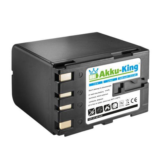 Akku kompatibel mit JVC BN-V408, BN-V416, BN-V428, BN-V438 - Li-Ion 3400 mAh - für CU-VH1, DV1800, DVL500