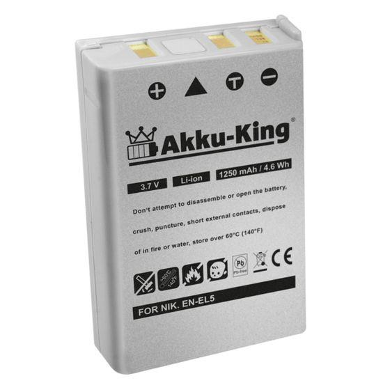 Akku-King Akku kompatibel mit Nikon EN-EL5, CP1 - Li-Ion 1250 mAh - für Coolpix 3700, 4200, 5200, 5900, 7900, P100, P3, P4, P5000, KlickTel NAVIGATOR K5