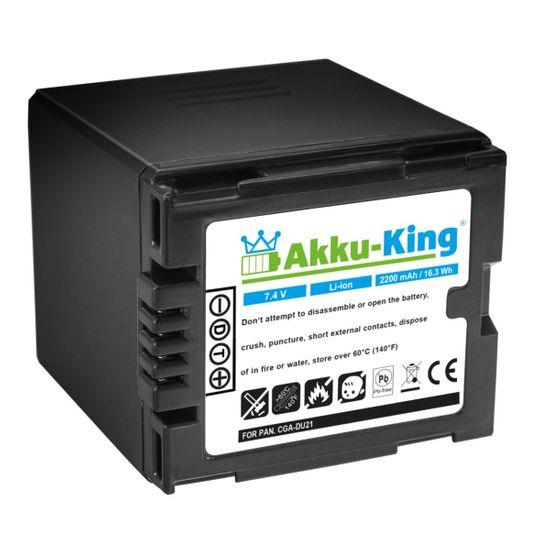 Akku-King Akku für Panasonic CGA-DU21 NV-GS250 NV-GS150 NV-GS140 NV-GS75 - HITACHI BZ-BP14S - Li-Ion 2200mAh