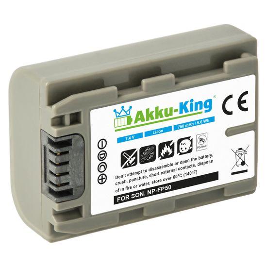Akku kompatibel mit SONY DCR-30, DCR-DVD103, DVD803, SR90E, HDR-HC3, SR100 - ersetzt NP-FP90, NP-FP50, NP-FP70 Li-Ion 750 mAh Li-Ion