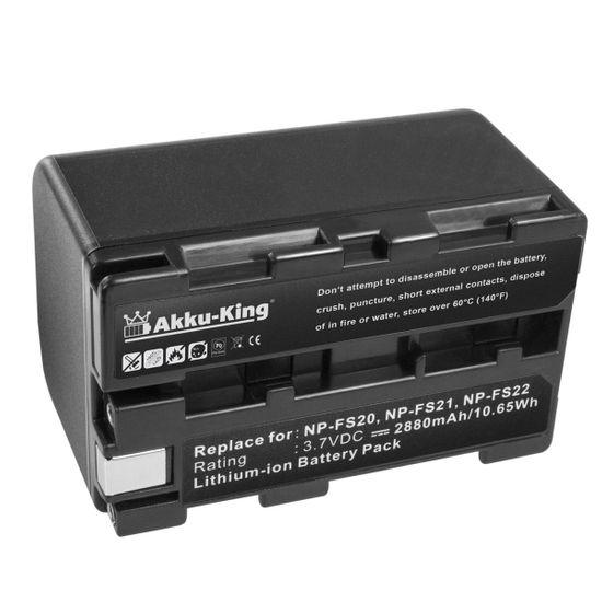 Akku-King Akku ersetzt Sony NP-FS20, NP-FS21, NP-FS22 - Li-Ion 2880mAh - für DCR-PC1, DCR-PC2, DCR-PC3, DCR-PC4, DCR-PC5, DCR-TRV1VE