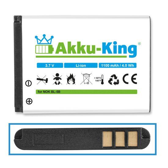 Akku kompatibel mit Nokia BL-5B - Li-Ion 1100mAh - für 5140, N90, N80, 7360, 7260, 6124, 6120, 6080, 6070, 6060, 6021, 6020, 5500, 5320, 5300