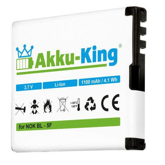 Akku-King Akku ersetzt Nokia BL-5F - für N95  N95 N96 N93i E62 E65 6290 6710, 6210 Navigator