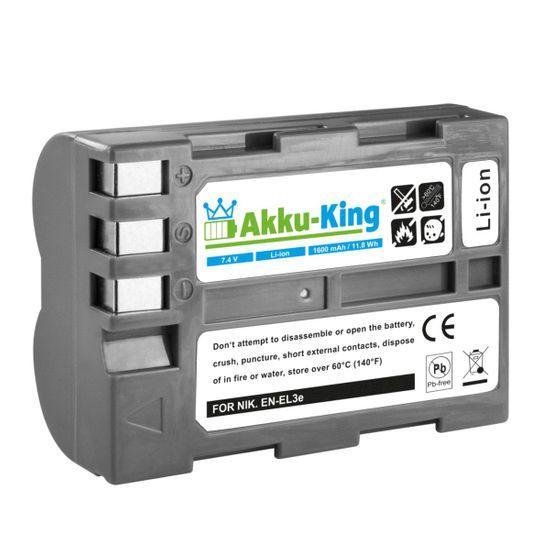 Akku-King Akku ersetzt Nikon EN-EL3e, EN-EL3e-2 - Li-Ion 1600mAh - für D700, D50, D100, D90, D80, D300, D70, D70s, D200, D300S, D900