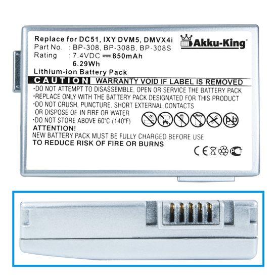 Akku-King Akku ersetzt Canon BP-308, BP-308B, BP-308S Li-Ion 850mAh - silber - für DC51, DMVX4i, HR10, HV10, IXY, DVM5, MVX4I, Optura 600
