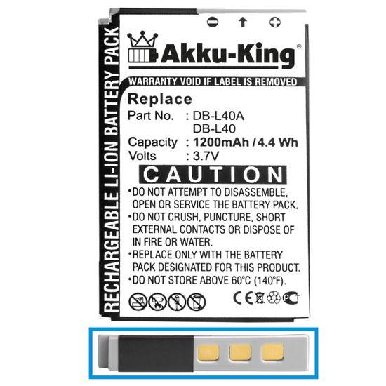 Akku-King Akku kompatibel mit Sanyo DB-L40 - Li-Ion 1200mAh - für Xacti DMX-HD1, DMX-HD1A, DMX-HD2, DMX-HD800, HD1, VPC-HD1, VPC-HD1A, VPC-HD1E, VPC-HD1EX