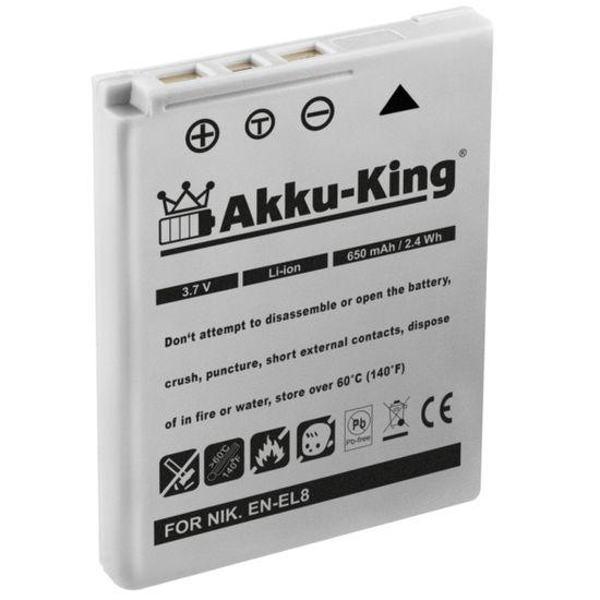 Akku-King Akku ersetzt Nikon EN-EL8 Li-Ion - 650mAh - für Coolpix P1, P2, S1, S2, S3, S5, S50, S50c, S51, S51c, S52, S52c, S6, S7, S7c, S8, S9