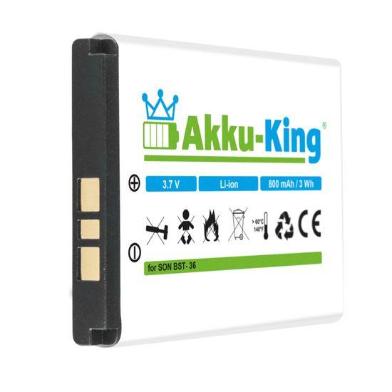 Akku kompatibel mit Sony-Ericsson BST-36 - Li-Ion 800mAh - für J300i, K310i, K510i, T250i, T270i, T280i, W200, Z310i, Z550i, Z558i