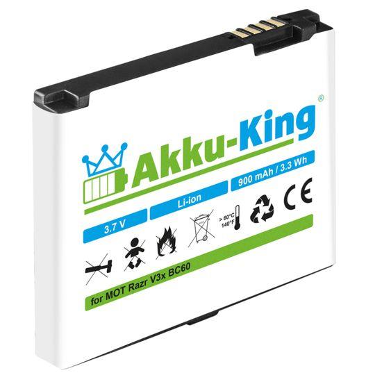 Akku kompatibel mit Motorola BC60, BK60 - Li-Ion 900mAh - für Razr V3x, L7, Rokr E8, C261 V1150, SLVR L9, Aura