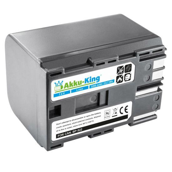 Akku kompatibel mit Canon BP-508, BP-511, BP-512, BP-522 - Li-Ion 3200mAh - für FV10, FV400, MV100X, MVX2i, ZR-45MC